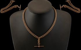 Antique Period - Superb 9ct Rose Gold Double Albert Watch Chain with T-Bar.