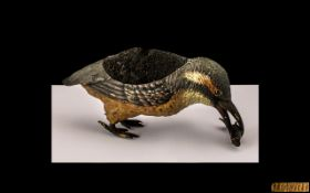 An Austrian Antique Cold Painted Bronze Figure of a Kingfisher Pincushion.