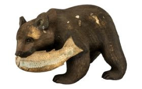 Large Black Forest Bear With a Salmon, f