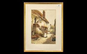 Victorian Watercolour Drawing of a Villa