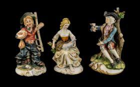 Three Capodimonte Figures, depicting a Y