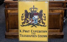 Vintage German Enamel Sign, 'K. Post Exp