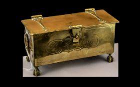 Rare Antique Brass Lidded English Tobacc