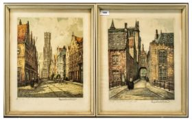 A Pair of Dutch Signed Coloured Prints,