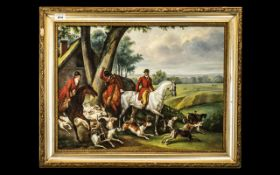 Oil on Board Depicting a Hunting Scene w