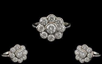 Platinum - Superb Quality Diamond Set Ladies Ring - Flower head Design. Marked Platinum to
