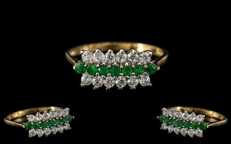 Ladies - Attractive 9ct Gold Diamond and Emerald Set Dress Ring with Full Hallmark to Interior of