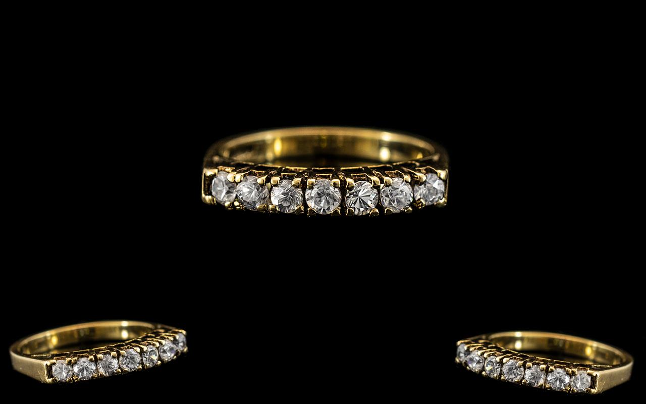 Ladies Attractive 9ct Gold Diamond Set Ring - Gallery Setting. The Seven Brilliant Cut Diamonds of