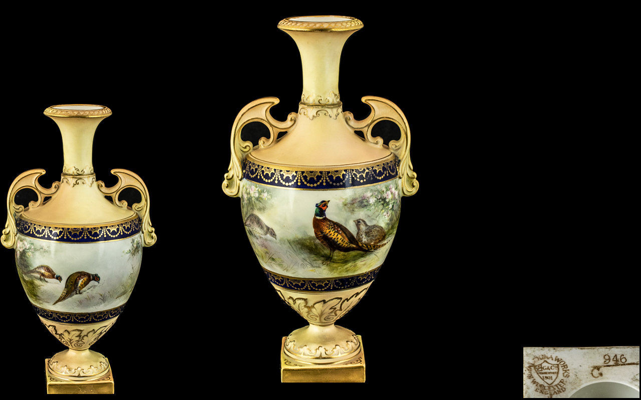 Royal China Works Worcester Hand Painted Twin Handle Classical Shaped Vase.