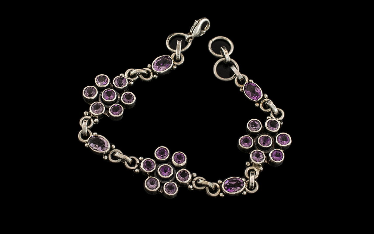 Ladies Sterling Silver Amethyst Set Stylised and Well Made Bracelet of Attractive Form.