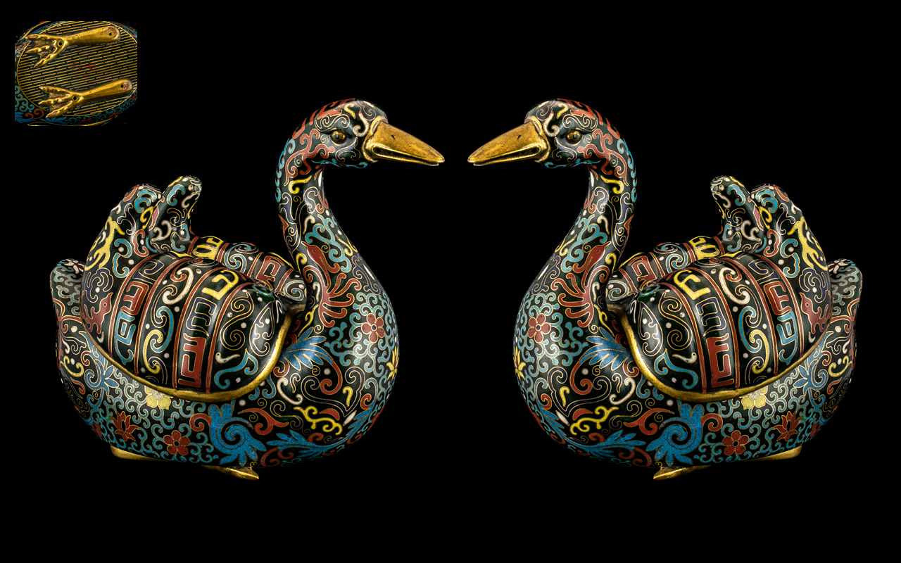 Pair of Chinese Antique Mandarin Duck Cloisonne Insense Burners with Detachable Lids to the Ducks