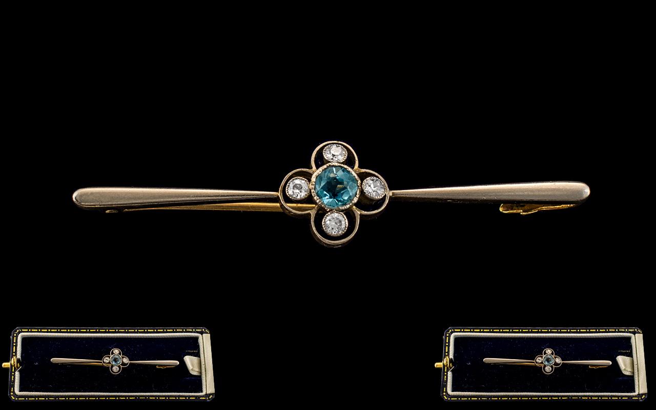 Edwardian Period - Nice Quality 15ct Gold and Platinum Diamond and Aquamarine Set Brooch. The