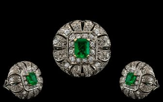 Art Deco Period - 1930's Stunning Platinum Diamond and Emerald Set Large and Impressive Cocktail
