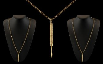 9ct Gold Long Belcher Chain with Attached 9ct Gold Telescopic Cased Toothpick.