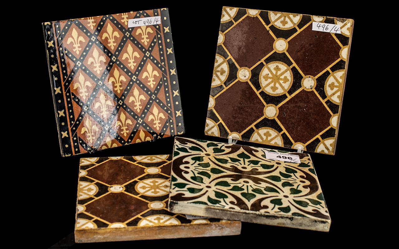 Four Pugin Style Antique Pottery Tiles, c1860s, makers - E. Smith & Co.,Coalville, M.E.