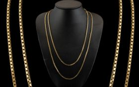 A Fine Quality Pair of Solid 9ct Gold Box-Chains of Attractive Form. Both Chains Marked for 9ct.