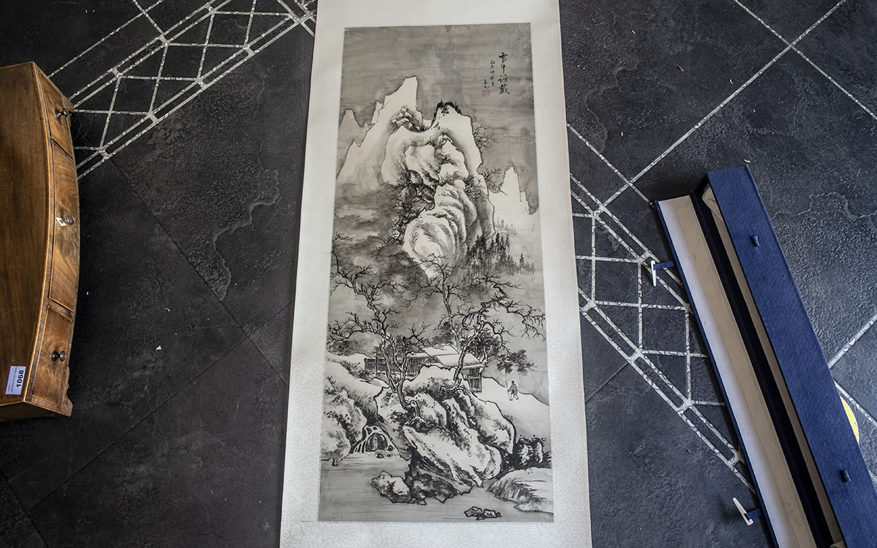 Chinese Early 20th Century Ink Painted Scroll depicting a figure walking in a mountainous landscape;