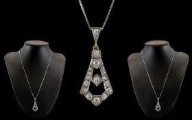 Art Nouveau Platinum and 18ct Gold Diamond Set Pendant of Superb Quality. c.1900 - 1905. Diamonds of
