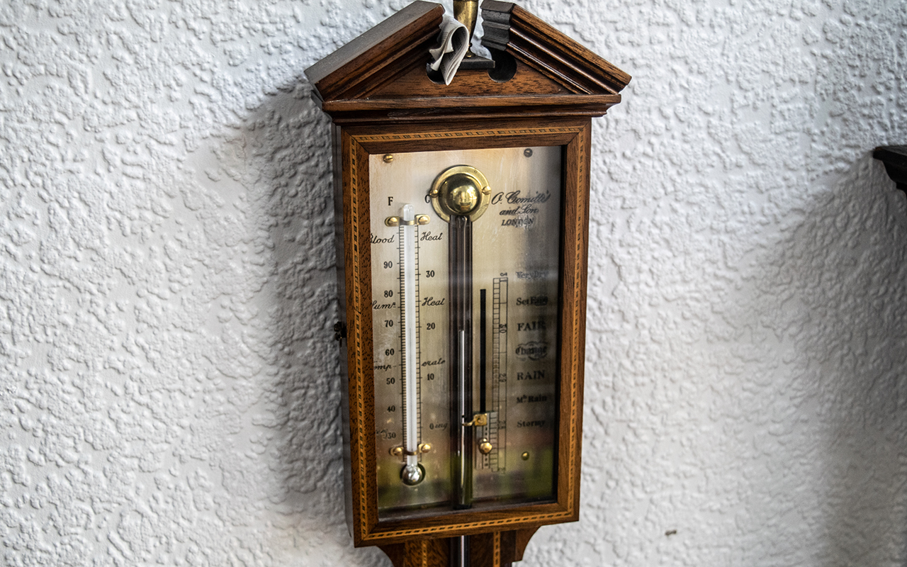 Comitti and Son London Stick Barometer, mahogany case with inlay, of typical form. - Image 2 of 2