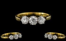 18ct Gold - Nice Quality 3 Stone Diamond Set Ring.
