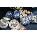 Large Collection of Willow Pattern Blue & White China, comprising covered dish,