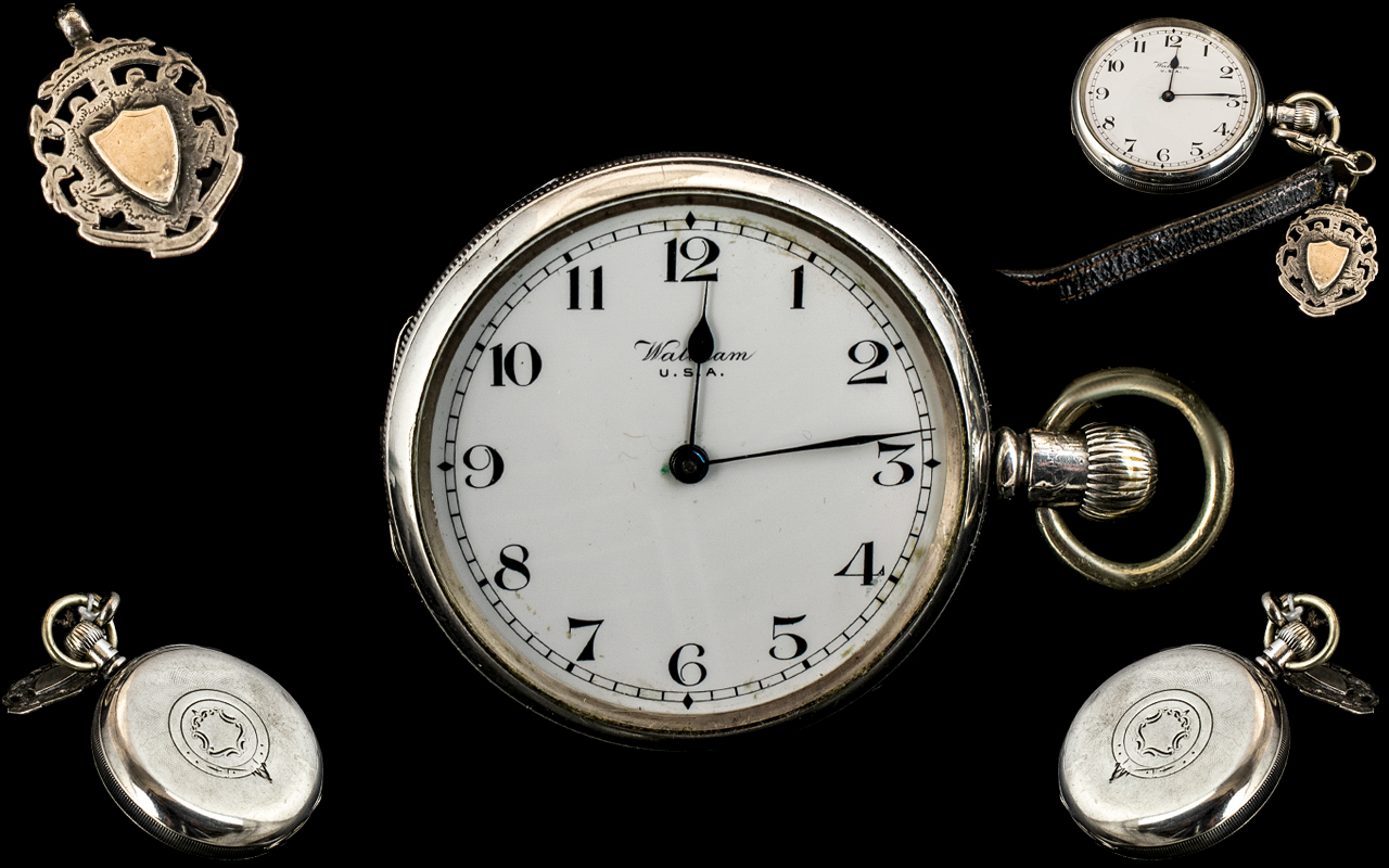 Edwardian Period Waltham USA Sterling Silver Open Faced Key-less Pocket Watch with Attached Leather