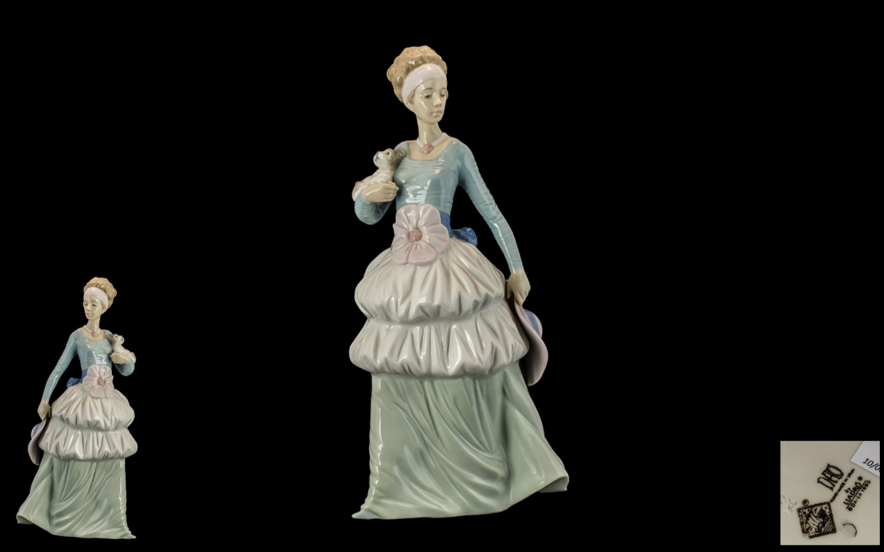 Nao by Lladro Tall and Impressive Hand Painted Figurine ' Elegant Young Woman ' In a Large