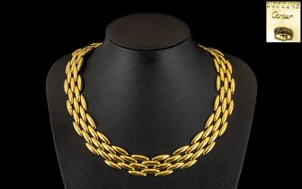 Cartier - An 18ct Gold Gentiane Collection - Stunning Torpedo Chain Link - Five Row Articulated