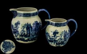 Two Reproduction Ironstone Jugs, 19th century style blue transfer decoration showing a village scene