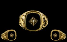 Gents 9ct Gold Diamond Set Ring, With Ornate Embossed Decoration Which Extends to Shoulders.