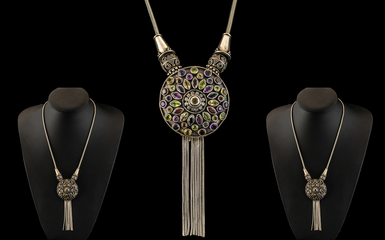Antique Period Superb and Well Made Persian Semi-Precious Multi-Stone Set Sterling Silver Necklace,