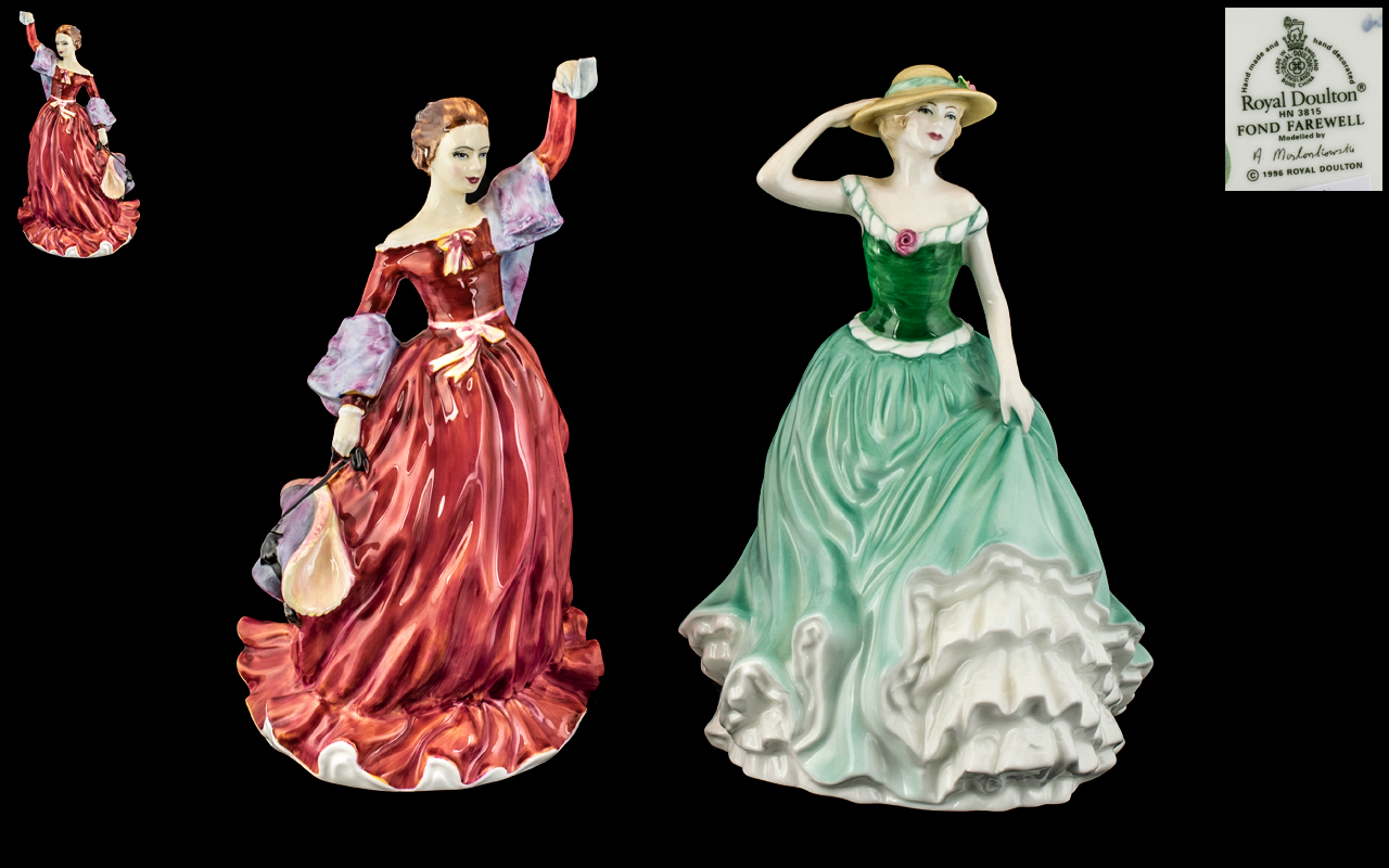 Royal Doulton Hand Painted Pair of Porcelain Figures. 1/ ' Fond Farewell ' HN3815. Designed A.