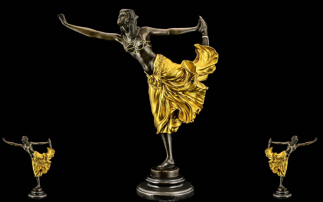 Art Nouveau Style Cold Painted Reproduction Bronze of a sensual dancing girl, on a marble base,
