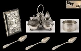 Small Silver Three Piece Cruet Set with cut glass bottles, dated London 1894, maker LAW,