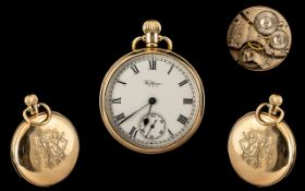 American Watch Company Waltham - Gents Signed 9ct Gold Keyless Open Faced Pocket Watch with