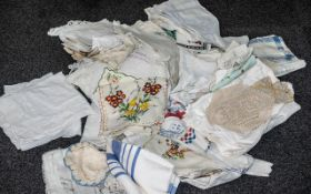 Large Bag of Vintage Linens including embroidery, lace, cottons, crochet, comprising table cloths,