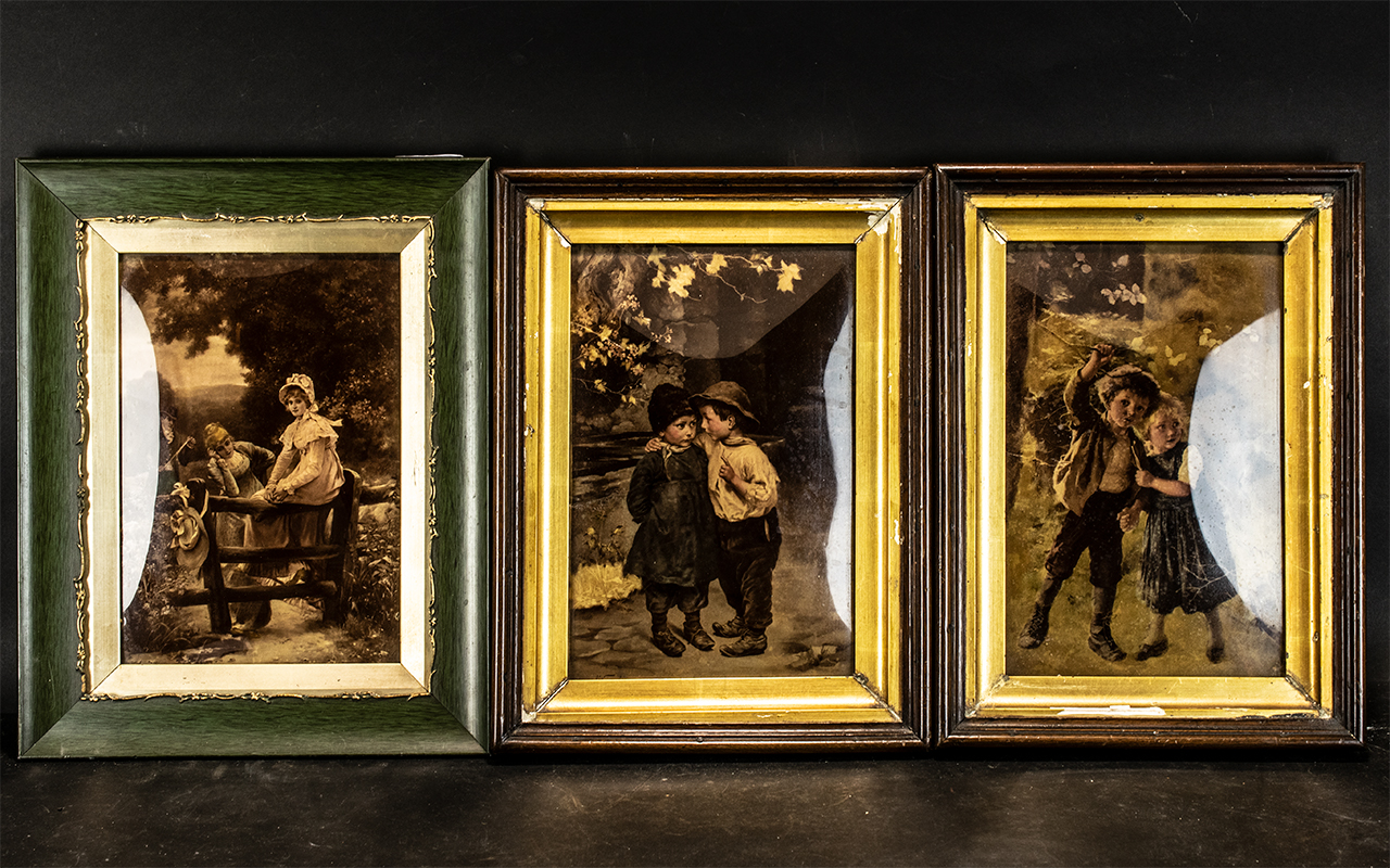 Collection of Three German Crystoleums, two depicting young children at play,