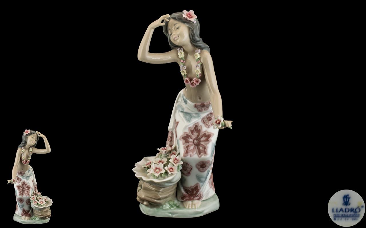 Lladro - Hand Painted Porcelain Figure ' Aloha ' Hawaiian Dancer. Model No 1478.