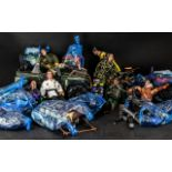 Large Collection of Action Figures with bags of accessories and some vehicles.