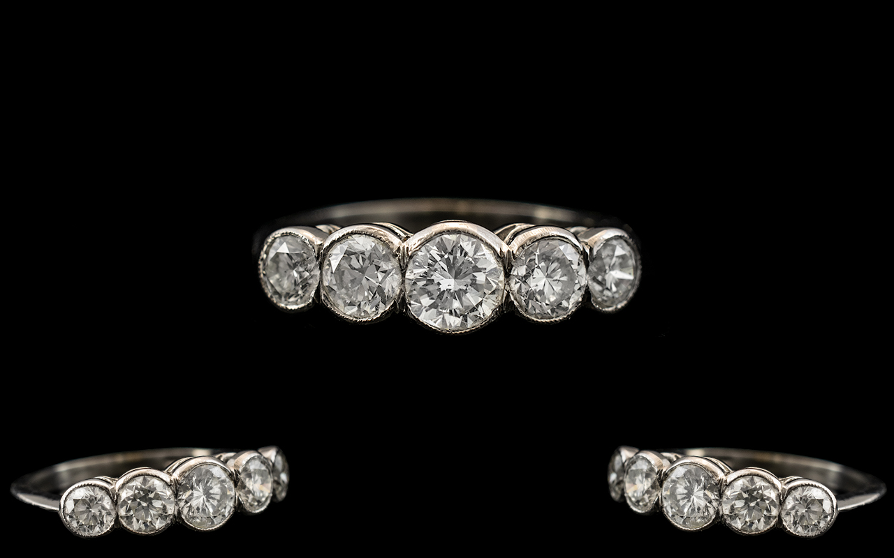Platinum Excellent Quality and Attractive 5 Stone Diamond Ring. Marked Platinum to Interior of