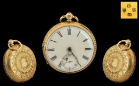 Victorian Period Superb 18ct Ornate Gold - Open Faced Pocket Watch with Ornate Chased Decoration