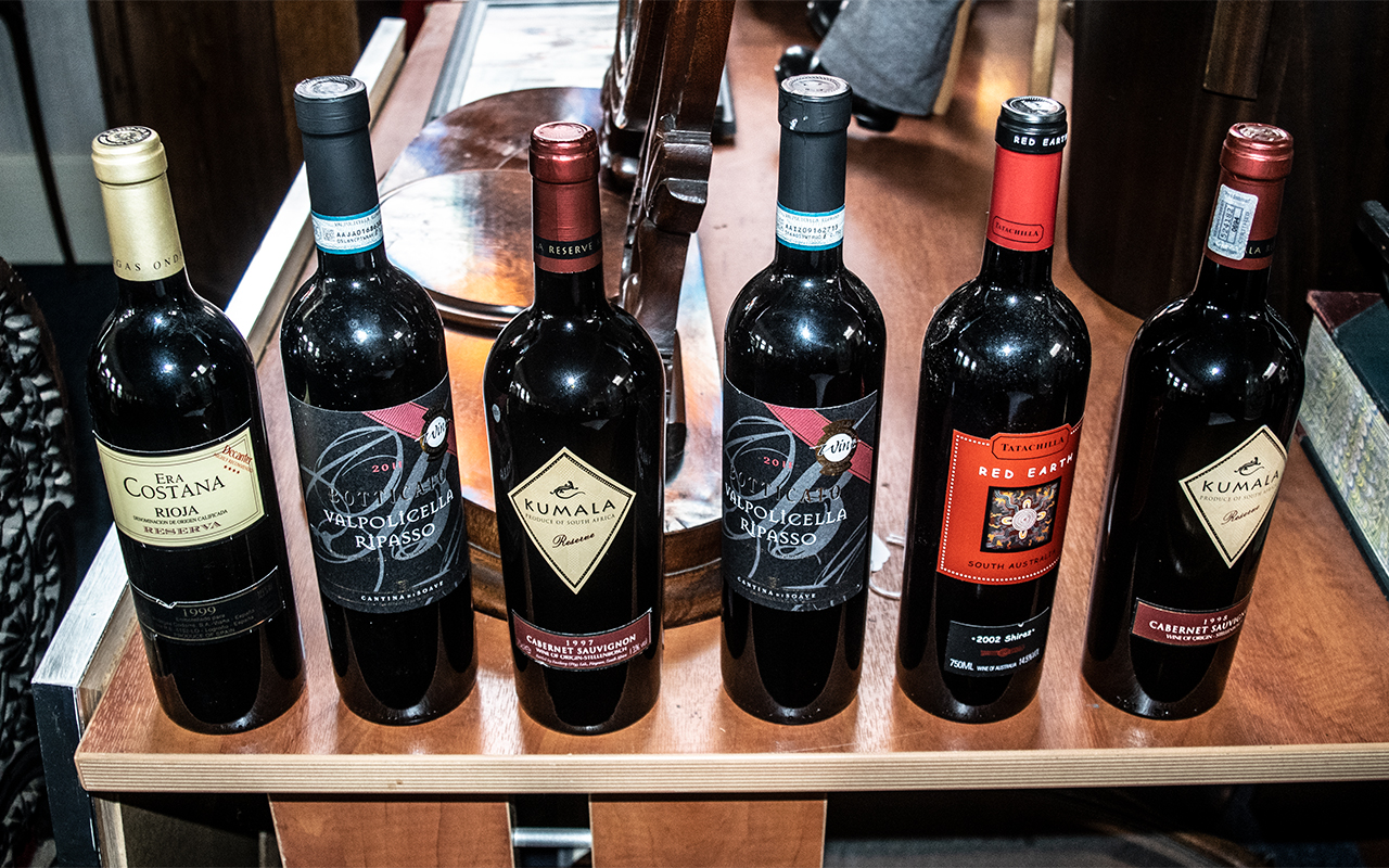 Excellent Selection of Vintage Red Wines ( 6 ) Bottles In Total.