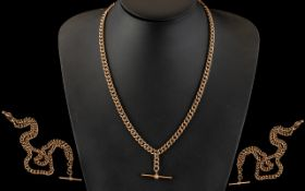 Edwardian Period Gents 9ct Gold Double Albert Watch Chain with Attached T-Bar.