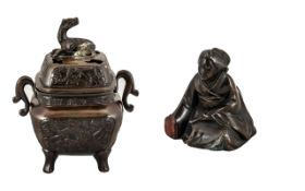 Chinese Antique Bronze Lidded Incense Burner, cast to the body with dragons,