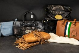 Collection of 5 Designer Leather Handbags, all with original dust bags, Lulu Guinness black,