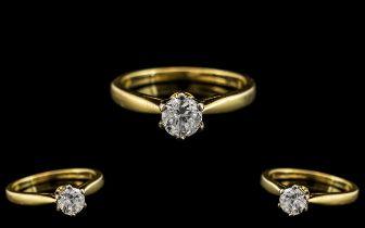 18ct Gold Single Stone Diamond Ring. Full Hallmark to Interior of Shank. The Round Brilliant Cut