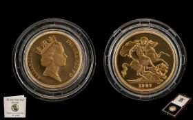 United Kingdom 1997 Gold Proof Sovereign with fitted box and certificate of authenticity No.