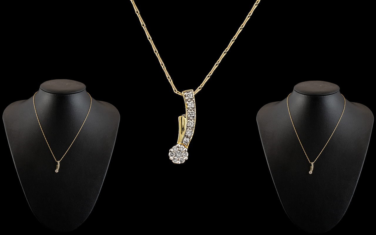 Unmarked Gold Diamond Set Pendant, set with round bullet cut diamonds on an unmarked hayseed gold