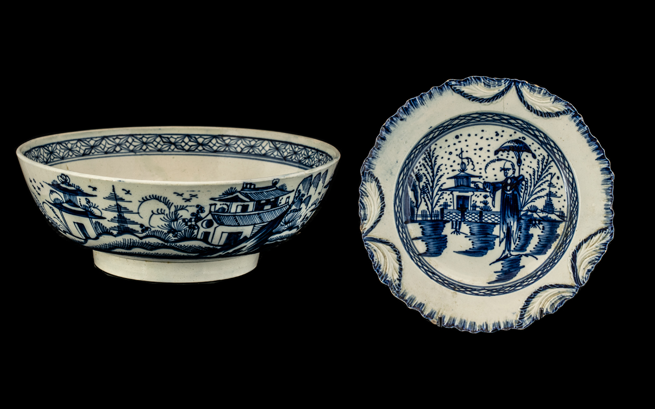 Antique Blue and White Decorated Bowl - Depicting Chinese Pavilions In Landscape. 9.5 Inches