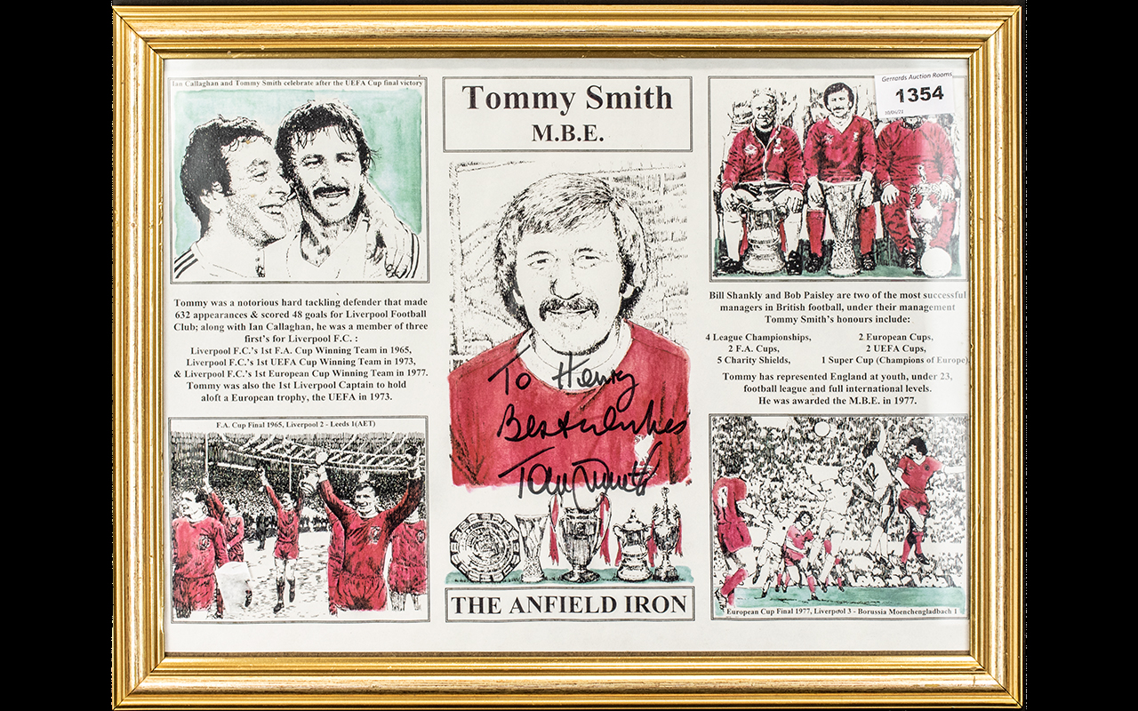 Football Interest - Signed Tommy Smith Collage, framed and mounted behind glass.
